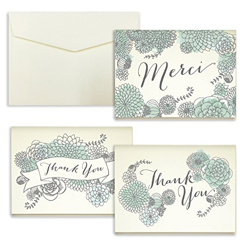 Mint Watercolor Succulent Thank You Cards - Pack of 24 - 5\