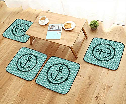 Leighhome Modern Chair Cushions Horizontal Zig Zag Pattern Background Anchor Image in Circle Shape Medallion Convenient Safety and Hygiene W23.5 x L23.5/4PCS ()