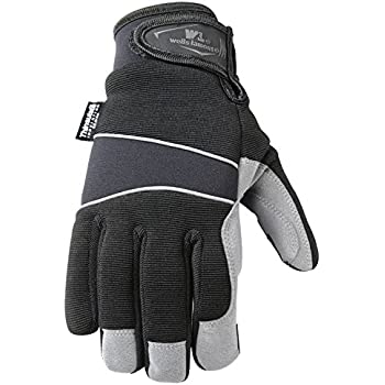 Mens Hi-Dexterity Winter Gloves, 60-gram Thinsulate, Synthetic Leather Palm, Medium (Wells Lamont 7745M)