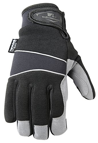 Men's Hi-Dexterity Winter Gloves, 60-gram Thinsulate, Synthetic Leather Palm, Large (Wells Lamont 7745L)