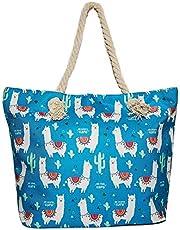 Llama Beach Shoulder Tote Bag - Blue with White Llama Weekender Travel Bag - No Drama Llama