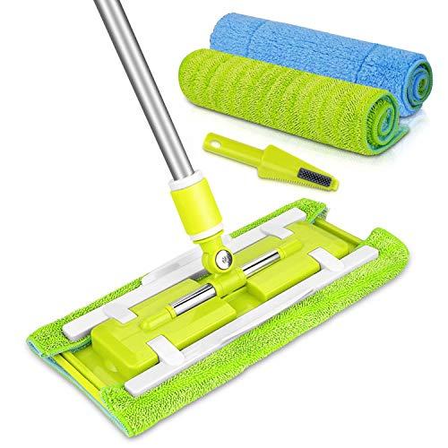 Microfiber Hardwood Floor Mop, Stainless Steel Handle,2 Reusable Flat Mop Pads, for Wet or Dry Floor Cleaning (green flat mop)