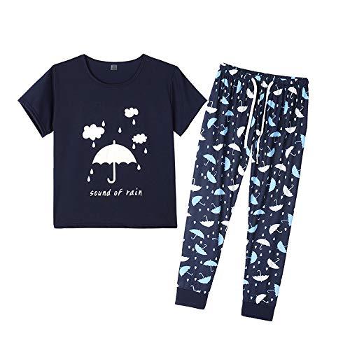 41841d2837 YIJIU Womens Sleepwear Short Sleeve Top Pants Pajama Set Umbrella Print Pjs