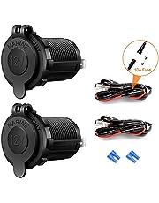Autosigarettenaansteker-stopcontact, 12 V/24 V, waterdicht, voor auto, motorfiets, marine, camper, vrachtwagen, SUV, UTV, met draadbeveiliging boot DC aansteker stekker