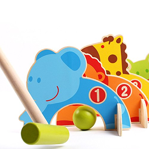 Sealive Mini Kids Golf Set, Wooden Animals Croquet Golf Toys, Play Ball Games Golf Clubs Toddler Early Educational Toy for Indoor Outdoor Sports Activities