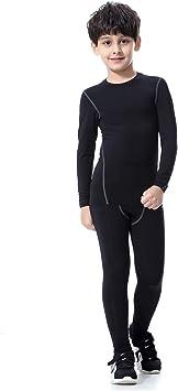 Bwiv Conjunto Térmico para Niños Camiseta Térmica de Manga Larga Pantalones Térmicos para Niños Ropa Interior Niña Esquí Elástico Secado Rápido Negro y Gris: Amazon.es: Deportes y aire libre