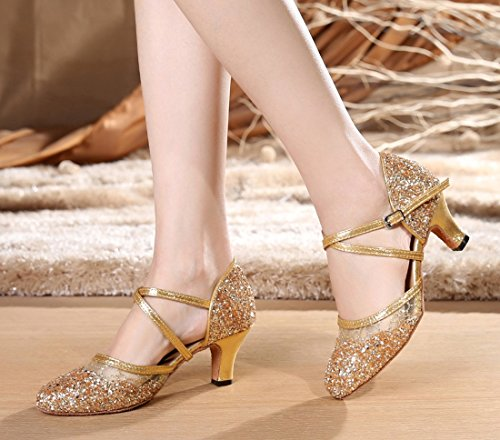 TDA Womens Ankle Strap Round Toe Sequins Mesh Synthetic Tango Ballroom Salsa Latin Dance Wedding Shoes 6cm Heel Gold Nn9TaWorSH