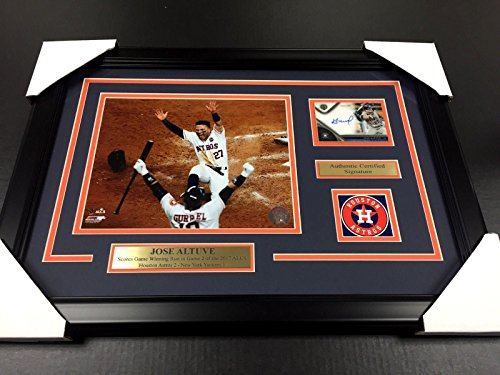 Jose Altuve Signed Photograph - 2017 WORLD SERIES CHAMPS Cd 8x10 FRAMED - Autographed MLB Photos