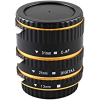 QKOO 13/21/31mm Metal Mount Auto AF Macro Extension Tube Ring for Canon EOS EF EF-S Lens DSLR 1100D 700D 650D, 600D 550D 350D 5D Mark IV 80D 7D T6s 6D 60D 7D 5D II 550D 500D 450D 400D 350D 300D 100D 200D etc Cameras -Gold