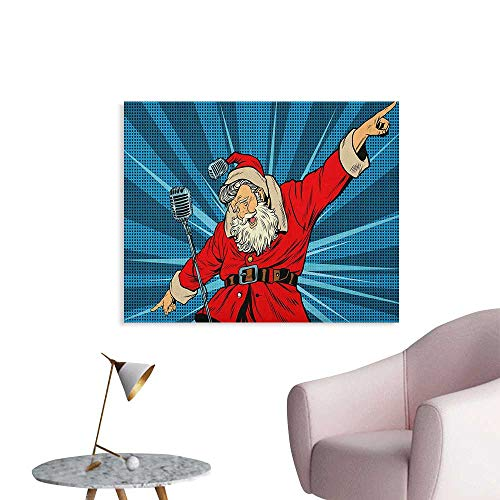(Anzhutwelve Popstar Party Painting Post Pop Art Style Santa Claus Superstar Singer on Stage with Retro Microphone Art Poster Blue Red Tan W36 xL24)