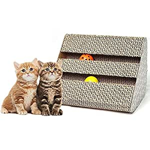 Aolvo Best Cat Scratching Post, Alfombrilla de cartón natural para rascador de gatos con gato