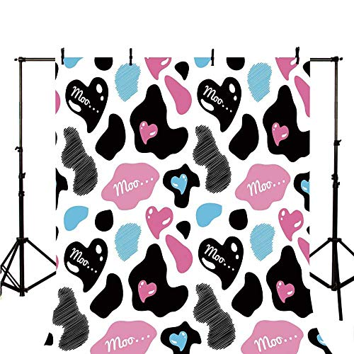 Cow Print Stylish Backdrop,Lovely Cow Hide with Cute Hearts Moo Barnyard Love Abstract Design for Photography,118