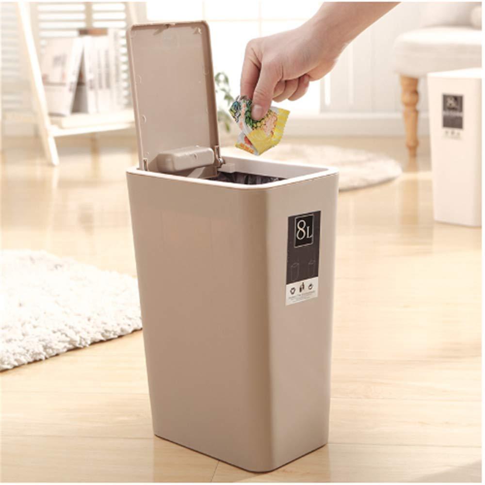 Mali Garbage Bin Colore Pp Secchio di Plastica Riciclato Secchio Grande capacit/à 8l Cucina Spazzatura Compressa Cestino Rosa