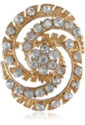 "Napier ""Giftables"" Gold-Tone and Crystal Swirl Pin"