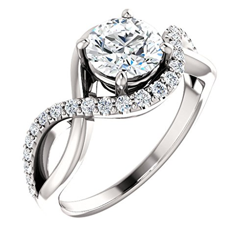 Tdw Prong Set - Infinity Style Diamond Accented Engagement Ring 3/4ct. TDW