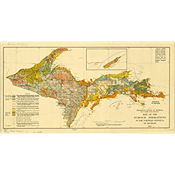 Amazon Com 24x36 Poster Map Of Upper Peninsula Michigan 1881