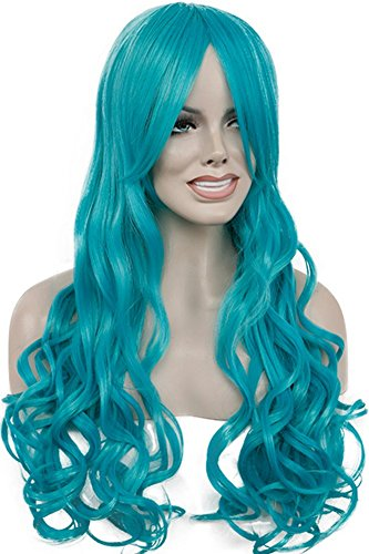 Diy-Wig Romantic Blue Long Curly Cosplay Anime Wigs with Bang for Women (Sailor Moon Costume Diy)