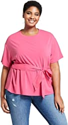c9d0b586488542 Ava & Viv Women's Plus Size Knit Woven Tie Short Sleeve T-Shirt - Pink