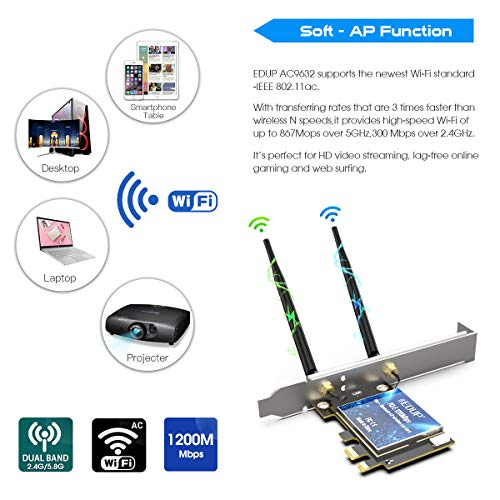 EDUP PCIE Wireless WiFi Network Card AC1200Mbps Bluetooth 4.2 Adapter 2.4Ghz 5 Ghz Dual Band Internet Networking Cards for Windows 10,Win 8.1,Win 7