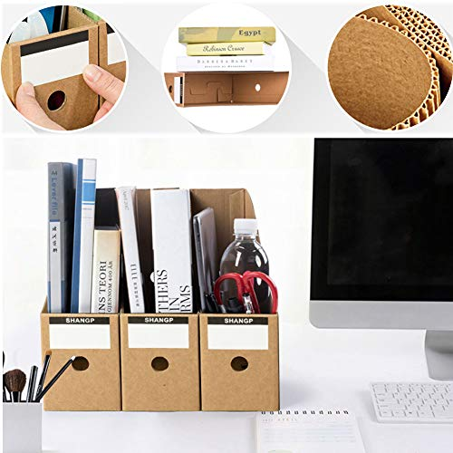 POPLAY 7 PCS Kraft Magazine File Holder, Desk Storage Organizer Magazine Storage with Blank Label Stickers for Office Home