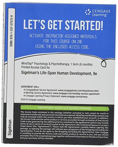 MindTap Psychology, 1 term (6 months) Printed Access Card for Sigelman/Rider's Life-Span Human Development (MindTap Course List)