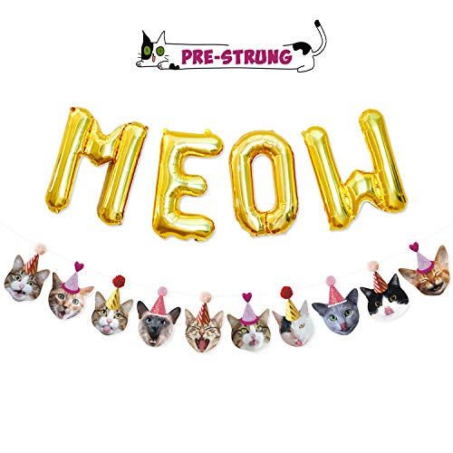Funny Cat Party Garland Meow Letter Balloons Cats Faces with Party Hats Banner Kitten Bunting Photo Props for Cat Theme Birthday Party Pet Adoption Party Supplies -