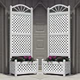 Dura-Trel Sunburst Planter Trellises w/ White Lattice, Set of 2
