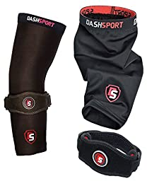 Tennis Elbow Brace - Copper Compression Elbow Sleeve. DashSport: The Original Elbow System for Complete Support and Pain Relief from Golfer and Tennis Elbow