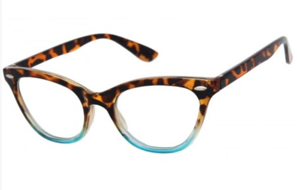 7cc692926 Galleon - AStyles Vintage Inspired Half Tinted Frame Clear Lens Cat Eye  Glasses (Tortoise-Turquoise, Clear)
