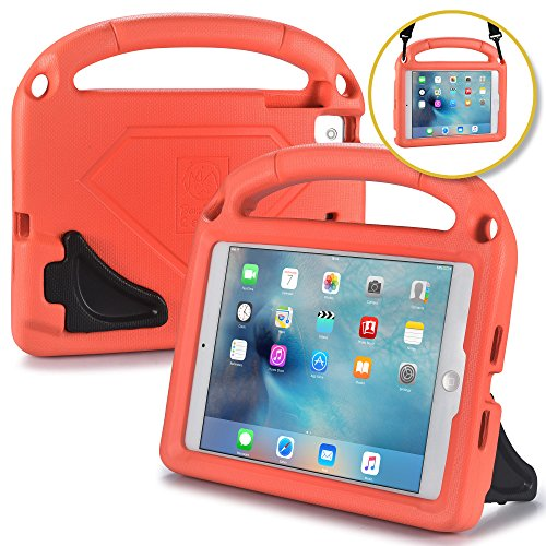 Bam Bino Hero [Shock Proof Kids Case] Kid Friendly Case for iPad Mini 4 3 2 1   Childproof Cover: Shoulder Strap, 2-Angle Stand, Handle (Tangerine)