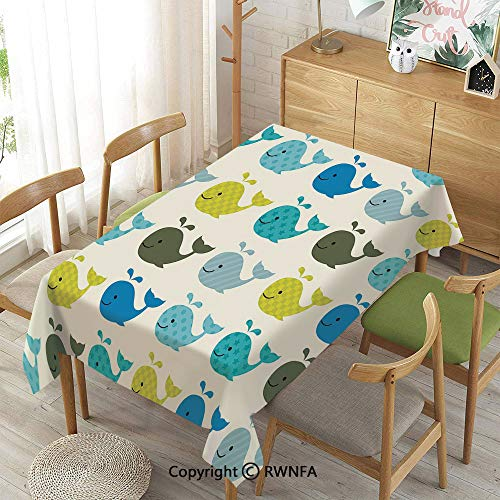 Homenon 100% Polyester Tablecloths for Rectangle Tables,Nursery,Spillproof Modern Printed,Blue Charcoal Grey Pale Blue,55