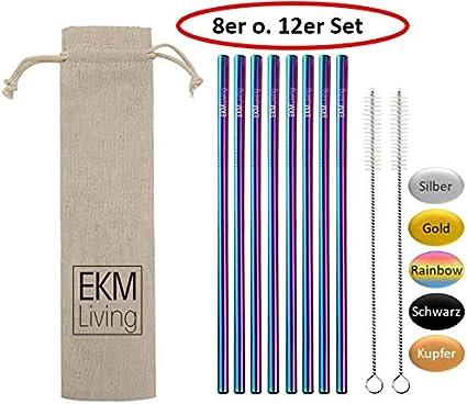 sp/ülmaschinengeeignet Trinkhalme EKM Living Edelstahl Strohhalme 12er Set Rainbow gerade GmbH wiederverwendbar bruchfest Rainbow gerade, 12 plastikfrei