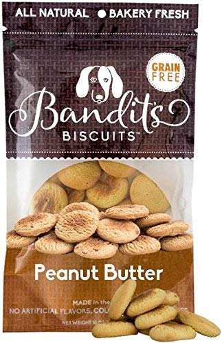Bandit's Biscuits All Natural Healthy Grain Free Dog Treats Peanut Butter Dog Cookies 10oz Made in The USA Only ()