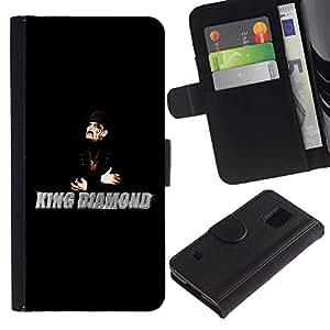 KingStore / Leather Etui en cuir / Samsung Galaxy S5 V SM-G900 / King Diamantes Hombre Mago Negro Sombrero Arte