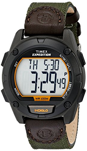 Timex Men's T499479J Expedition Stainless Steel Digital Watch with Green Nylon (Timex Watch Nylon Band)
