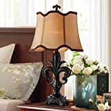 MILUCE Retro European Luxury Table Lamp Bedroom Bedside Table Lamp Classical