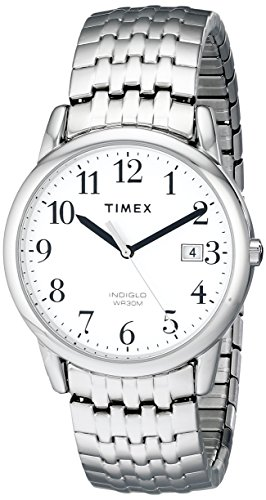 (Timex Men's T2P294 Easy Reader Dress Silver-Tone Stainless Steel Expansion Band Watch)