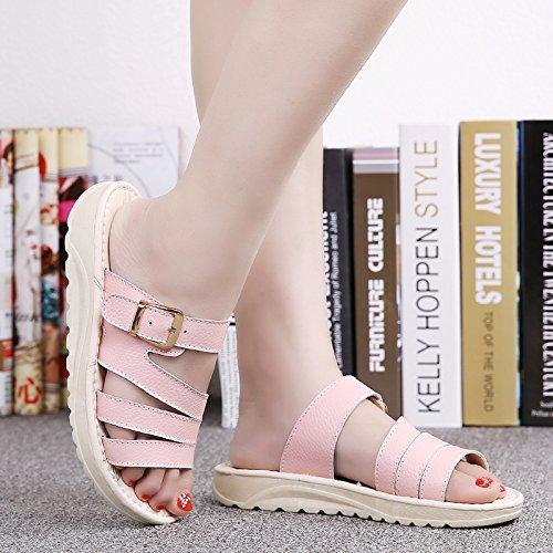 di clip quadrato Da Pan cintura 38 casual Moda Donna 36 spagna per Sandali Alla la AJUNR 3cm con pantofole rosa YqPZwZ