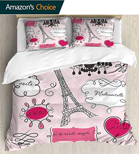 Teen Room Decor Cotton Bedding Sets,Doodle Frames French Style Rococo Baroque Lantern Mademoiselle Print Print Queen 1 Duvet Cover 2 Pillowcases Wrinkle Fade Resistant 68