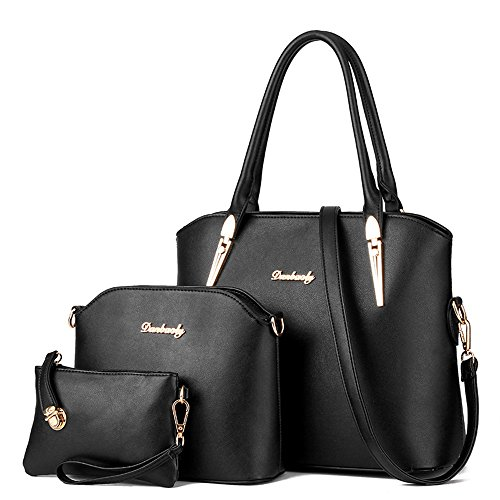LINGTOM 3 pieces Lady Womens PU Leather Shoulder Bags Top Handle Cross Satchel Handbag Set,Black
