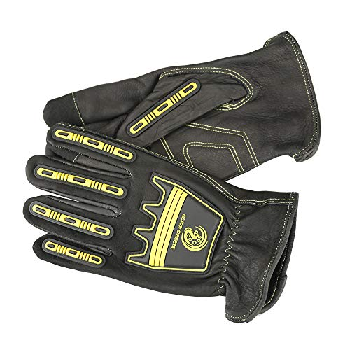 (Cowhide Work gloves Mechanics gloves Cut and Impact Protection, Padded Palm (Medium))