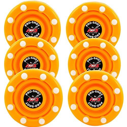 IDS 6 Pack of Roller Hockey Puck Pro Shot (Flo Orange)