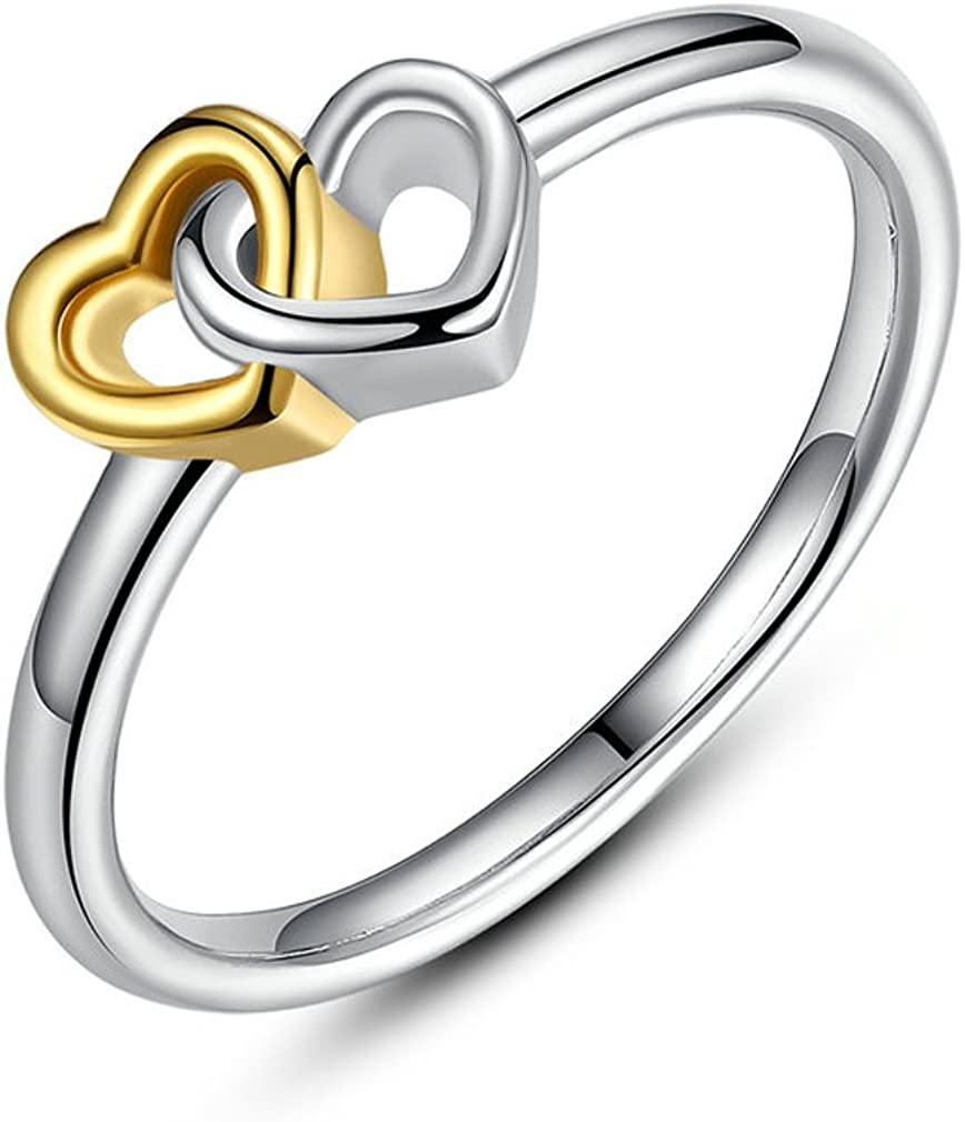 Everbling Heart To Heart 925 Sterling Silver Stackable Ring