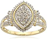 Jewelili 10kt Yellow Gold Diamond Cocktail Cluster Ring (1/2 cttw), Size 8