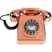 Wild Wood Rotary Design Retro Landline Phone for Home, Metallic Copper