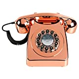Wild Wood Rotary Design Retro Landline Phone for Home, Metallic Copper