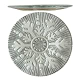 Comfy Hour 12'' Decorative Winter Snowflake Pattern Round Glass Plate Ideal, Dishwasher Safe, Gray