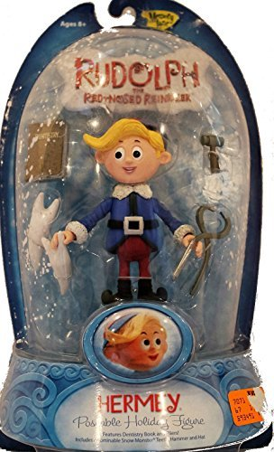 Rudolph the Red Nosed Reindeer Poseable Holiday Action Figure - Hermey (Poseable Rudolph Reindeer)