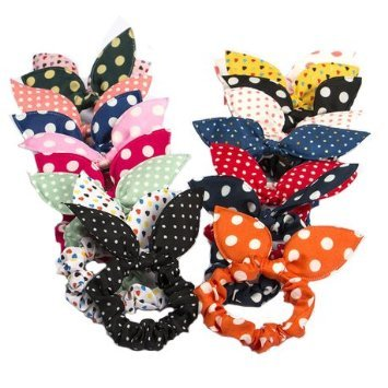 - Cute Girls Hair Tie Bands - CINRA 20 PCS Rabbit Ear Hair Tie Bands Ropes Ponytail Holder Color Randomly (20pcs)