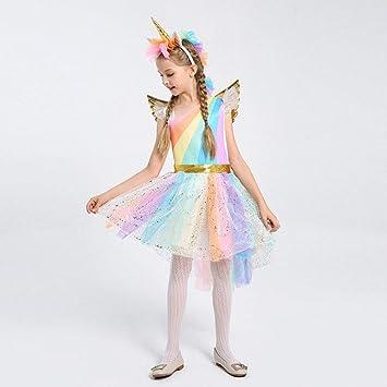 9df84c35363d4 ハロウィン 衣装 子供 ユニコーン 可愛い ワンピース コスプレ衣装 コスチューム 演出服 仮装 パーティーグッズ カチューシャ付き